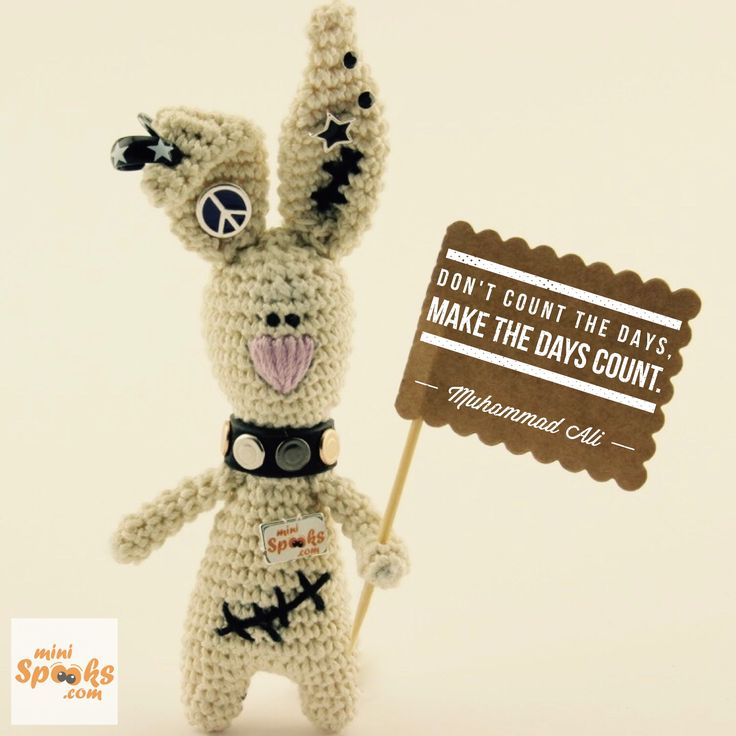 Don't count the days, make the days count. Muhammad Ali - R.I.P ‪#‎minispooks‬ ‪#‎crochet‬ ‪#‎amigurumi‬ ‪#‎rabbit‬ ‪#‎ali‬ ‪#‎quote‬