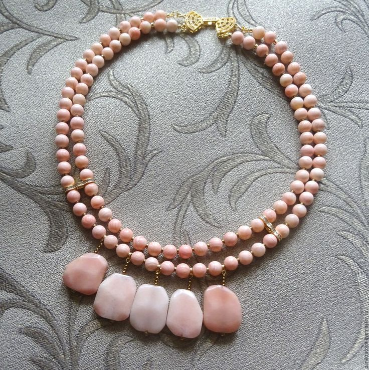 """Купить Колье """"Cuir d'Ange"""" (персиковый агат, розовый опал, гематит) - кремовый, персиковый"""