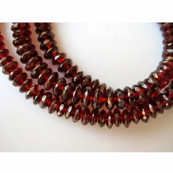Garnet Beads Mozambique Garnet Rondelle Beads by gemsforjewels
