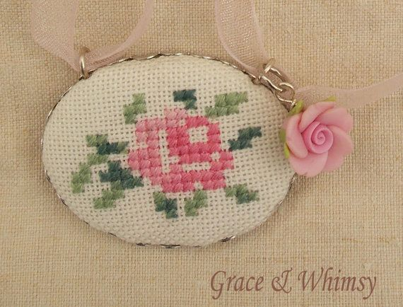 Rose Collection  Embroidered pendant necklace by GraceAndWhimsy, $25.00