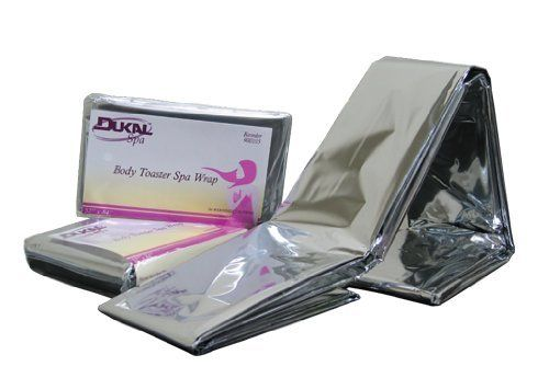 "Dukal Body Toaster Spa Wrap - Latex Free (52"" x 84"") by Dukal. $1.29. durable and thermal. will capture body heat. Mylar material creates a heated environment to intensify body treatments. uses no electricity. energy efficient, and environmentally friendly!. Maximize the effects of full body treatments with the DUKAL Body ToasterTM Spa Wrap. The durable and thermal Body ToasterTM will capture body heat, using the advanced Mylar material, creating a heated enviro..."