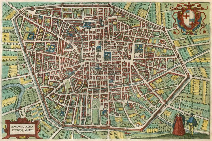 Antique map - bird's-eye view plan of Bologna by Braun and Hogenberg. | Sanderus Antique Maps