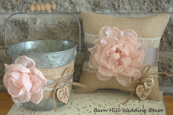 Flower Girl Basket Bucket Ring Bearer Pillow Set Pink Gray Lace Wedding Rustic Wedding Burlap Shabby Chic Country Basket and Pillow Set