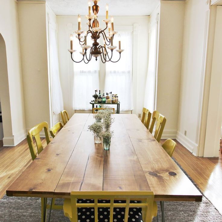 I think this is what we will go for, Barnwood table, white mismatched chairs.... Maybe not hair pin legs, what do you think?