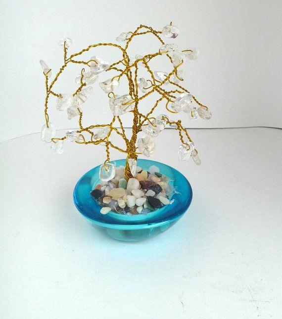 Custom Quartz Crystal Beaded Bonsai Tree  Great for Wedding #favors #wedding #party #gift #bonsai