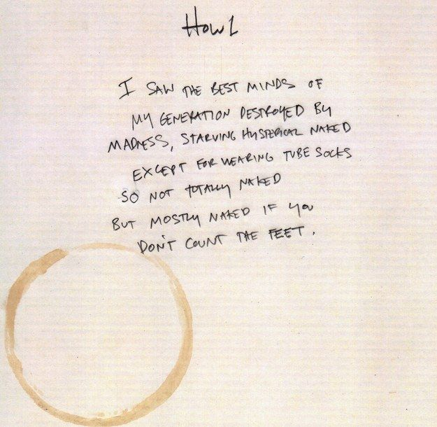 Howl by Allen Ginsberg   Community Post: 5 Hilariously Bad (Imaginary) Rough Drafts By Famous Poets