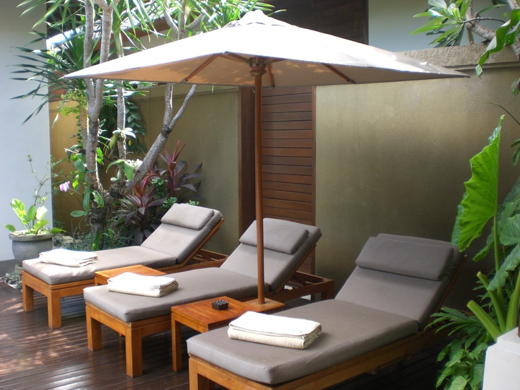 private sunbeds and inground pools