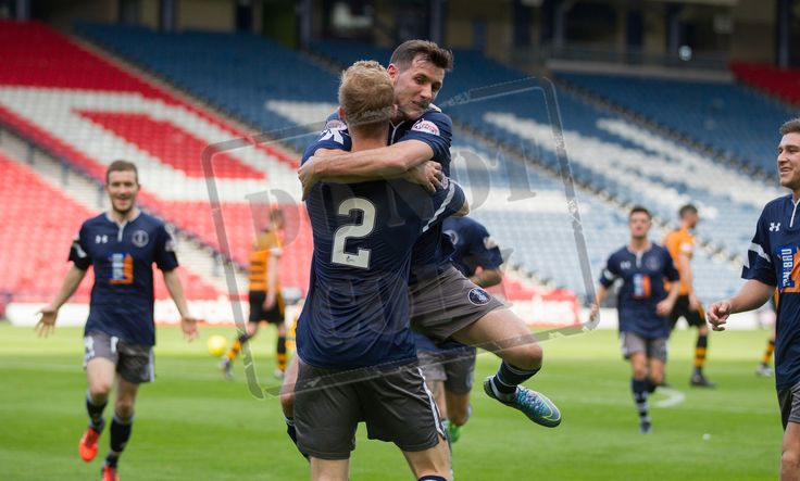 Queen's Park's John Carter celebrates Ross Millen's goal during the Ladbrokes League One game between Queen's Park and Alloa Athletic.