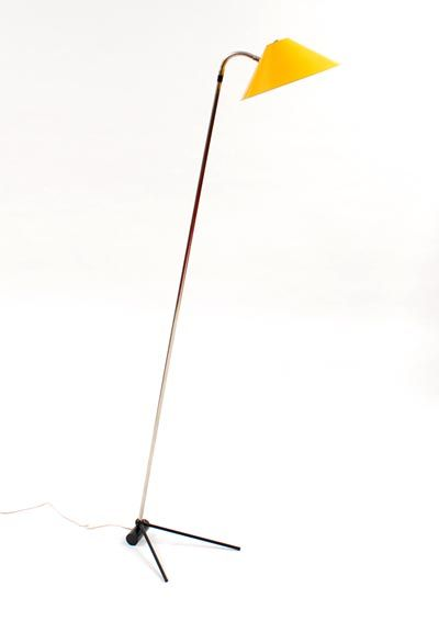 Floor lamp with yellow lacquered metal shade designer execution unknown 1950-'60