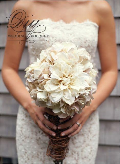 DIY Hydrangea and Mum Bouquet weddings-diy