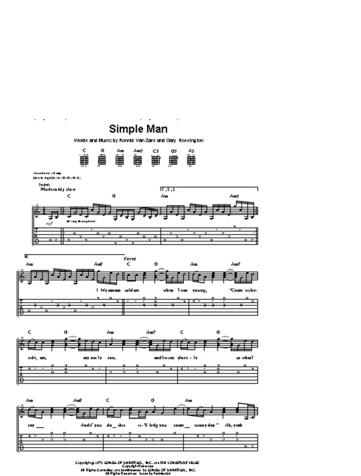Easy Guitar Chords : lynyrd skynyrd - simple man guitar tab _download_ - : Music : Pinterest ...