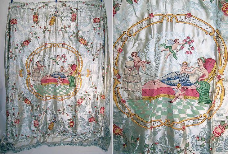 Antique Damasco S. Leucio Italian Damask Hand Painted Putti Peacock Bedspread