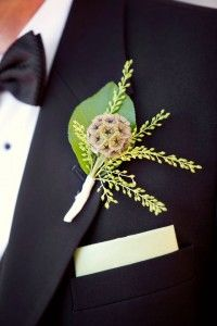Scabiosa Pod Boutonniere |  White Milk Glass | White Hob Nail | Riverhouse at Goodspeed Station Wedding | Planning by Ambiance | Paper by Admire