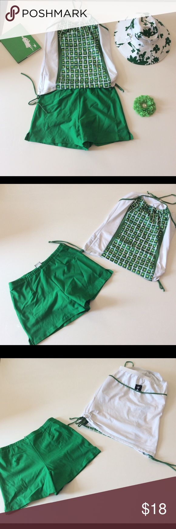 🎾🎾 Nike tennis shorts with. DTL top🎾🎾 green is the perfect court color. Nike court shorts with a halter top in the same green size small / medium Nike Shorts