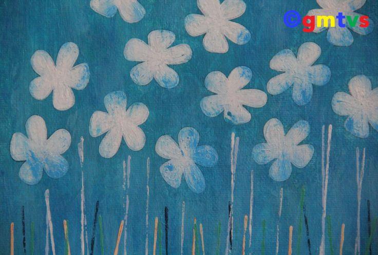 Distressed Flowers -Acrylic Painting for Sale