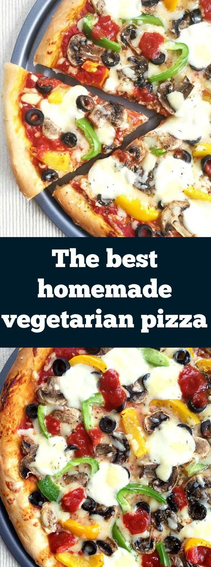 The best homemade vegetarian pizza with mushrooms, peppers and black olives. And cheese, loads of cheese. An easy pizza recipe with a perfect crust all the time.