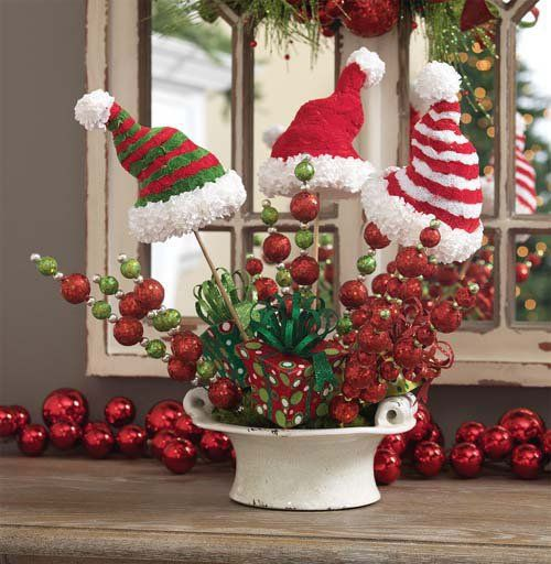Most Popular Christmas Decorations On Pinterest To Pin: Arrangement Using Red/Green Ball Sprays, Hats On A Stick