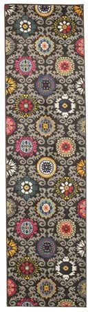 Serena - Zwart/Grijs tapijt 80x300