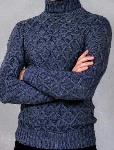 Вязаный свитер с геометрическим узором — модный, стильный и теплый. Свитер мужской спицами схемы и пошаговое описание для выполнения модели. Удивите своего мужчину связав мужской свитер на спицах. Размер: 54 Материалы: 600 г пряжи темно-серого цвета (50% шерсть, 50% акрил, 280 м/ 100 г), круговые спицы №4. Резинка: вязать по схеме 1. На схеме указаны
