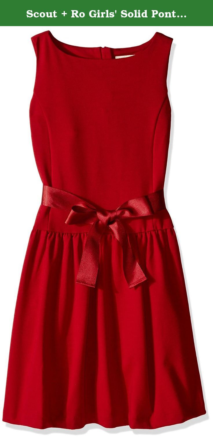 Scout + Ro Girls' Solid Ponte Dress, Red, 14. This Scout + Ro solid ponte-knit dress featuring a drop waist and princess seams.