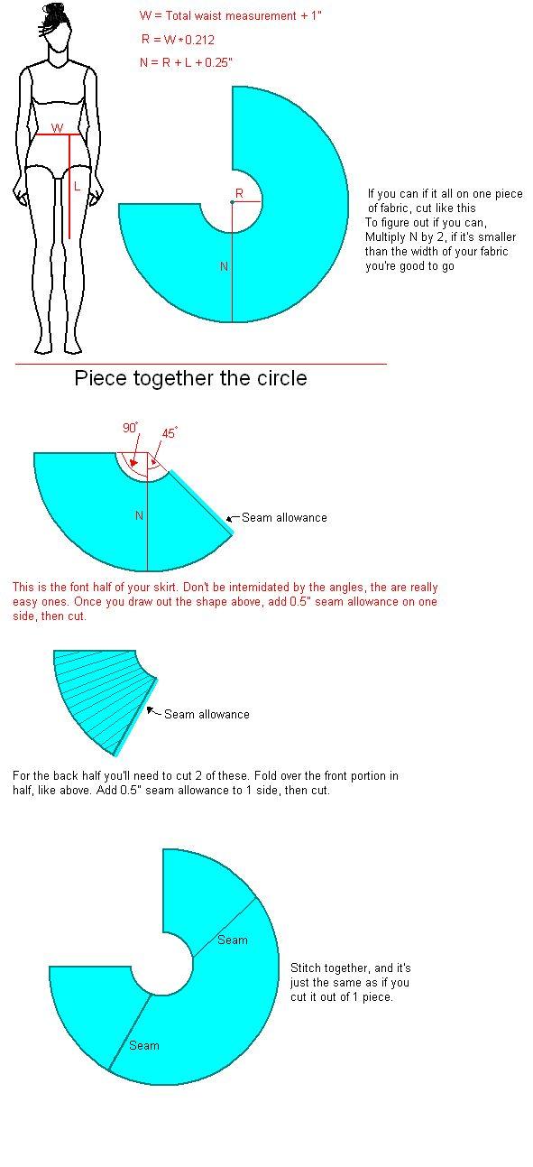 DIY 3/4 circle skirt