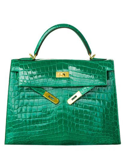 4a6707f976c5 Replica Hermes Vintage 32cm shiny Crocodile Kelly Bag  3443 13