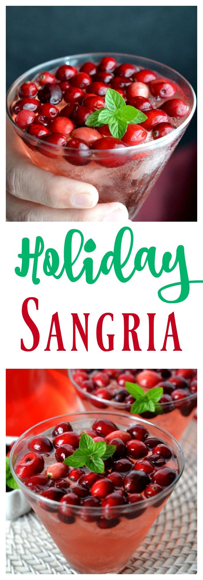Holiday Sangria perfect for a girls night or party. This festive Sangria contains Prosecco which makes it perfect for Christmas cocktail or New Years Eve.