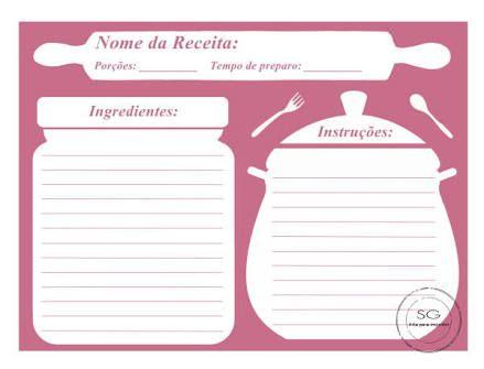 Resultado de imagem para folha de fichario livro de receitas