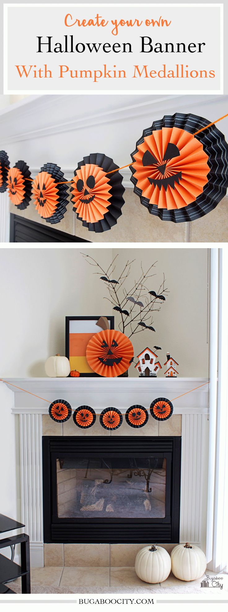 Create Your Own Halloween Banner with pumpkin medallions