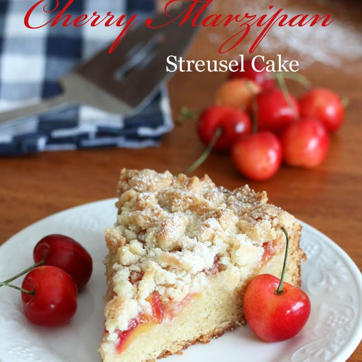 Cherry (MARZIPAN) Almond Streusel Cake Recipe Desserts with butter, sugar, marzipan, large eggs, buttermilk, pure vanilla extract, all purpose unbleached flour, baking powder, baking soda, salt, cherries, all purpose unbleached flour, sugar, marzipan, butter, powdered sugar