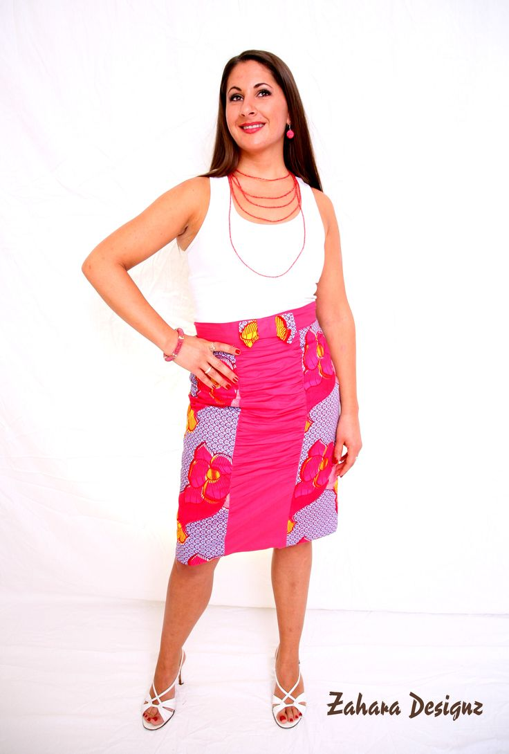 African Print Skirt with Bow.