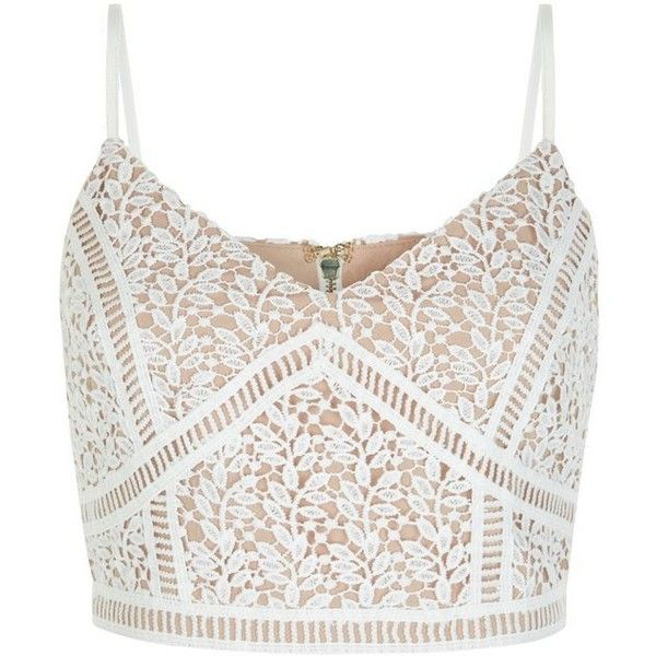 White Lace Crop Top (£18) ❤ liked on Polyvore featuring tops, spaghetti-strap top, white v neck top, evening wear tops, lacy tops and white crop top