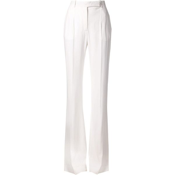 Alberta Ferretti Wide Leg Pant ($890) ❤ liked on Polyvore featuring pants, trousers, bottoms, pantaloni, highwaisted pants, highwaist pants, high rise pants, white wide leg pants and loose fit pants