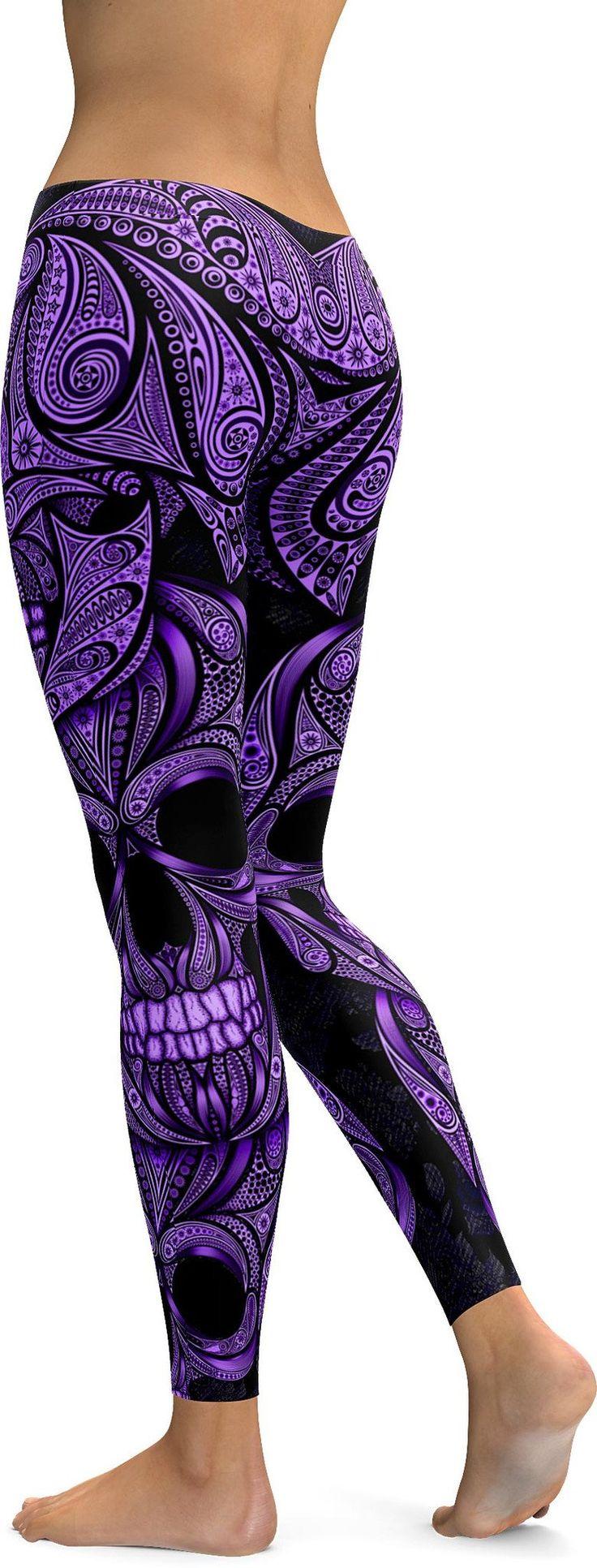 Purple Ornamental Skull Leggings