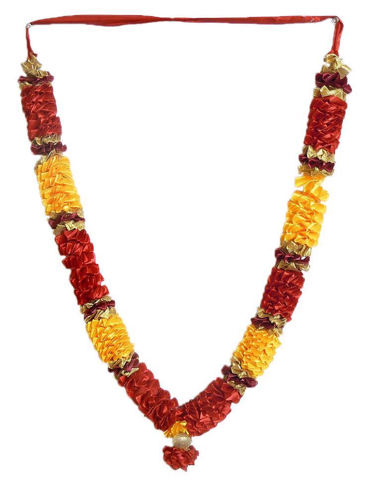 Red with Yellow Satin Ribbon Garland for Deity (Satin Ribbon)