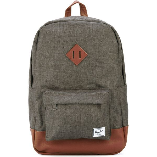 Herschel Supply Co. 'Heritage' backpack ($65) ❤ liked on Polyvore featuring men's fashion, men's bags, men's backpacks, grey and mens leather backpack