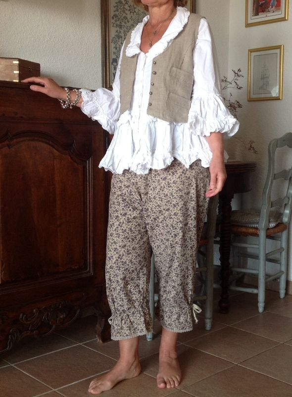 French country casual: pantaloons, poet shirt, and lace-back vest