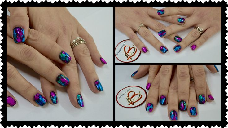 beauty in nails nail art foil gel #foil #transfer #nailart #foilgel black e #foiltransfer multicolor #beautyinnails