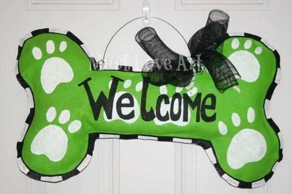 Pet Dog Bone Burlap Door Hanger Decoration HUGE 2 ft Welcome