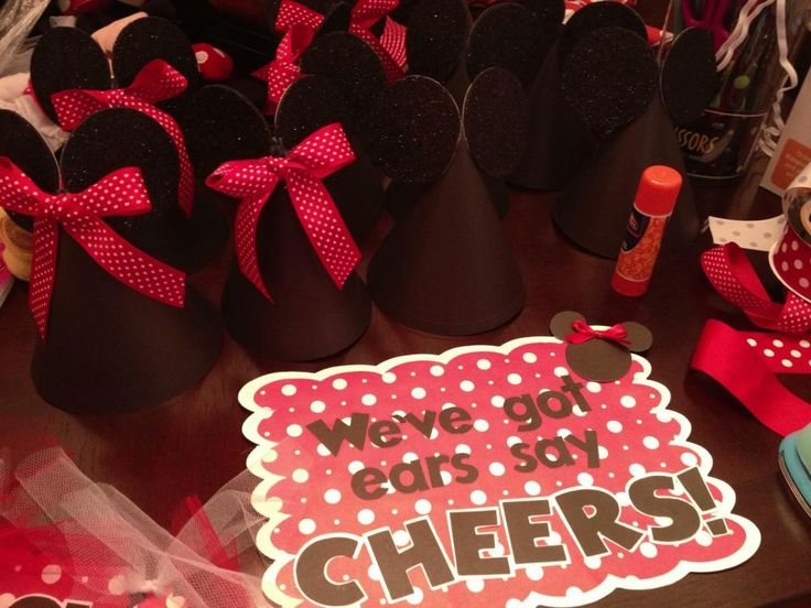 Mickey Mouse Party ~ Decorations ~ Tutorial ~ Party cone hats with Mickey ears and Minnie bows.
