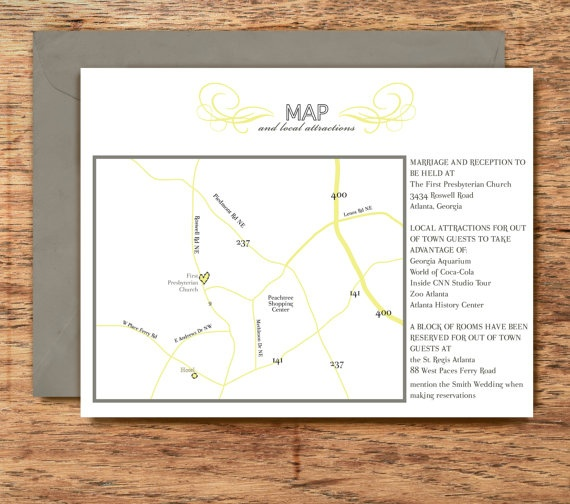 Wedding Invitation MAP And Directions Card Chic Classy Fresh CHRISTINE Collection DIY Printable