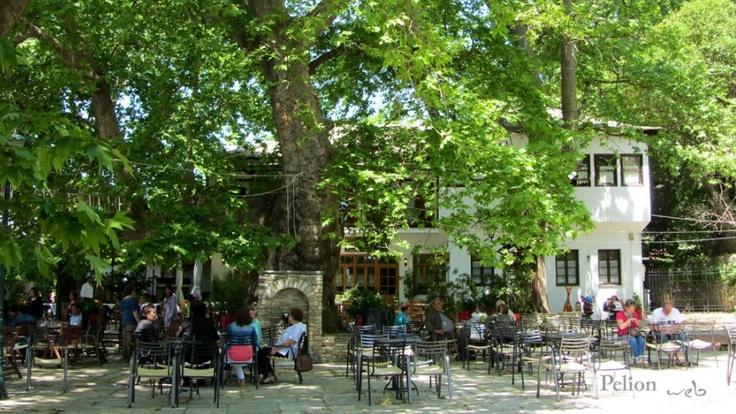 Outdoor tables in Pilio, Greece
