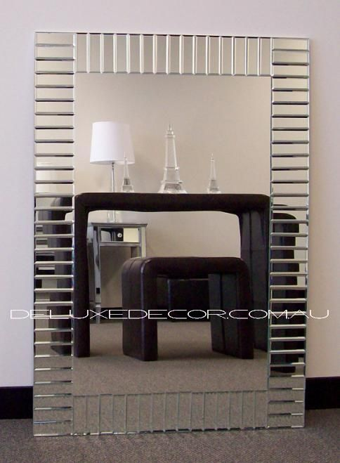 Bevelled Mirror Tile Frame Modern Art Deco Wall Mirror 2613 (1000 x 700 mm) http://deluxedecor.com.au/products-page/wall-mirrors/bevelled-frameless-modern-art-deco-wall-mirror-2613-1000-x-700-mm/