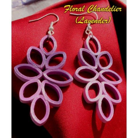 Purple Quilling | Floral Chandelier (Dark Purple) Quilled Earrings ...