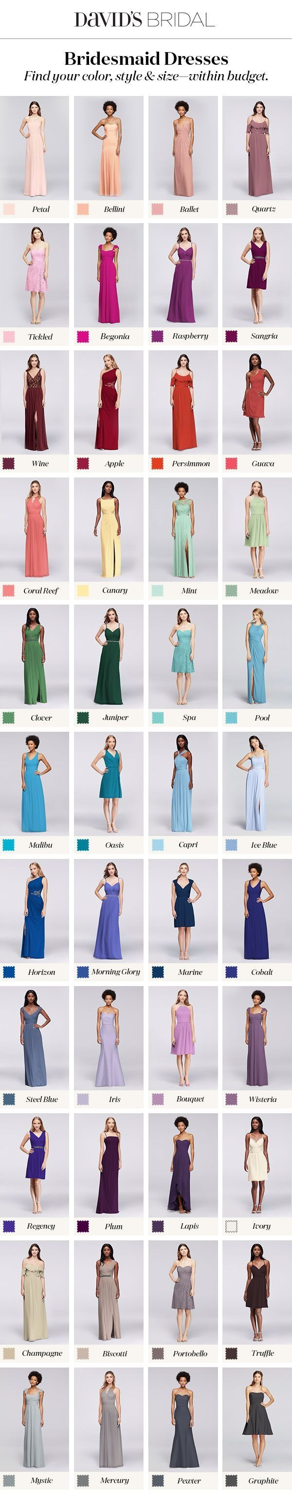 Bridesmaid dresses in your color with styles to fit every friend & every budget. Find the perfect bridal party assortment at David's Bridal