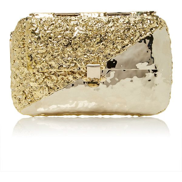 Anndra Neen     Diagonal Melted Clutch found on Polyvore featuring bags, handbags, clutches, purses, gold, antique handbags, anndra neen, antique purses, travel handbags and travel purse
