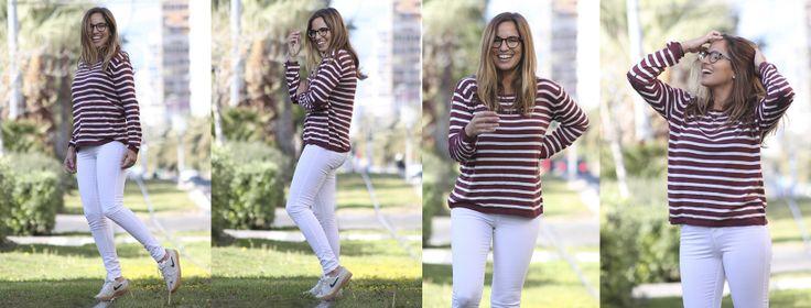 Look informal para la primavera 2017: jersey de rayas de Trendie y pantalones blancos de Primark – La Reina del Low Cost