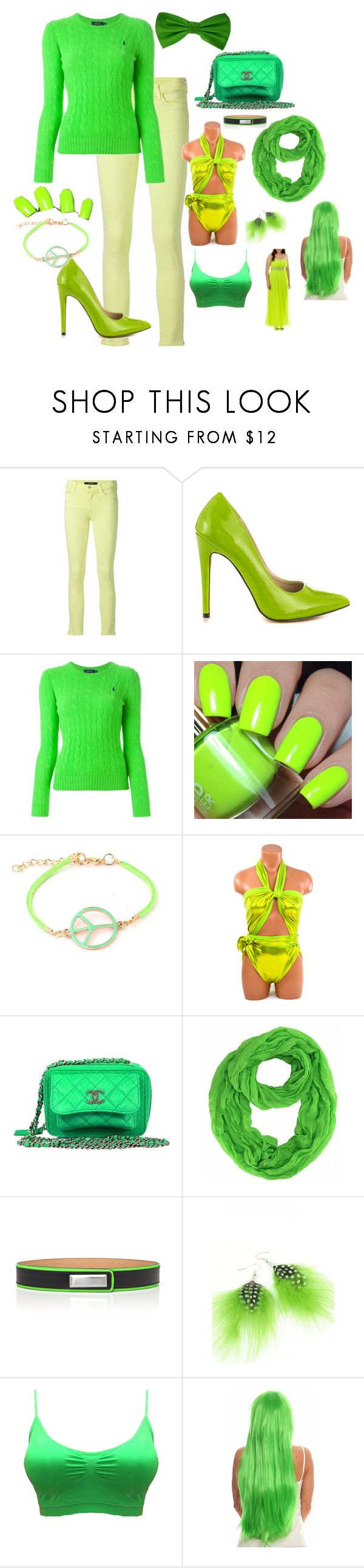 """lime green color collection"" by gatorlover52 ❤ liked on Polyvore featuring J Brand, Michael Antonio, Polo Ralph Lauren, Ruby Rocks, Prabal Gurung, Emi Jewellery, City Triangles and plus size dresses"