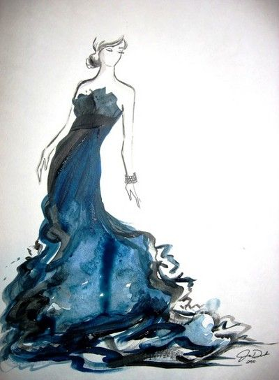 Beautiful watercolor work. Love the idea of the dress...would be a pretty wedding dress if it was white.