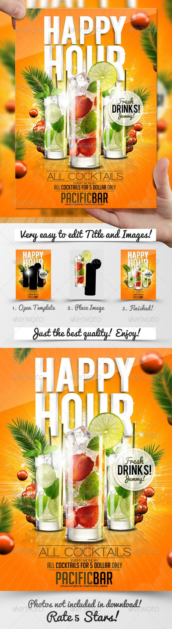 Drink Promotion Flyer Template A5 - Miscellaneous Events